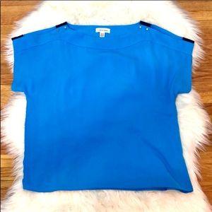 Calvin Klein Slit Shoulder Top Black Blue Size XS